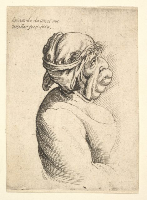 Bust of woman with protruding mouth wearing low-cut dress and cloth bound around her head, in profile to right