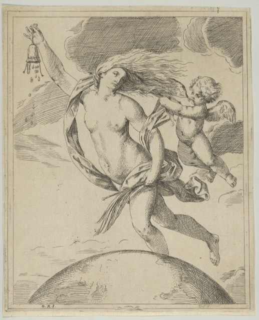 Fortune flying above the globe, partly naked, emptying a purse in her raised right hand and holding a staff in her left, a winged putto pulling her forelock, after Reni