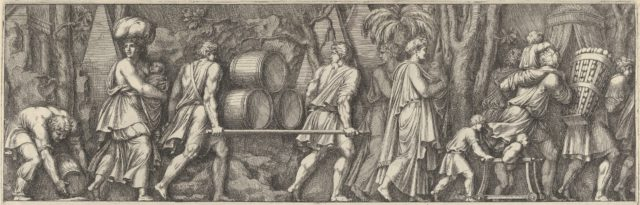Plate 3: various figures transporting materials, walking to the right