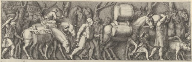 Plate 4: animals transporting goods being led by figures going to the right