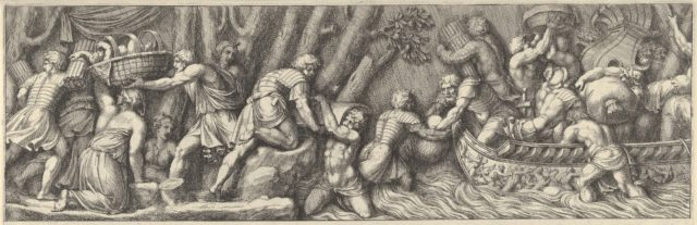 Plate 5: figures unloading goods from a boat at the right