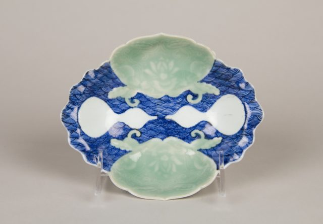 Small Dish with Waves, Shells, and Gourds