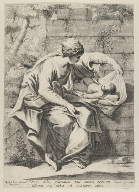 The Virgin seated on a stone ledge with the infant Christ lying on a cushion next to her, after Reni
