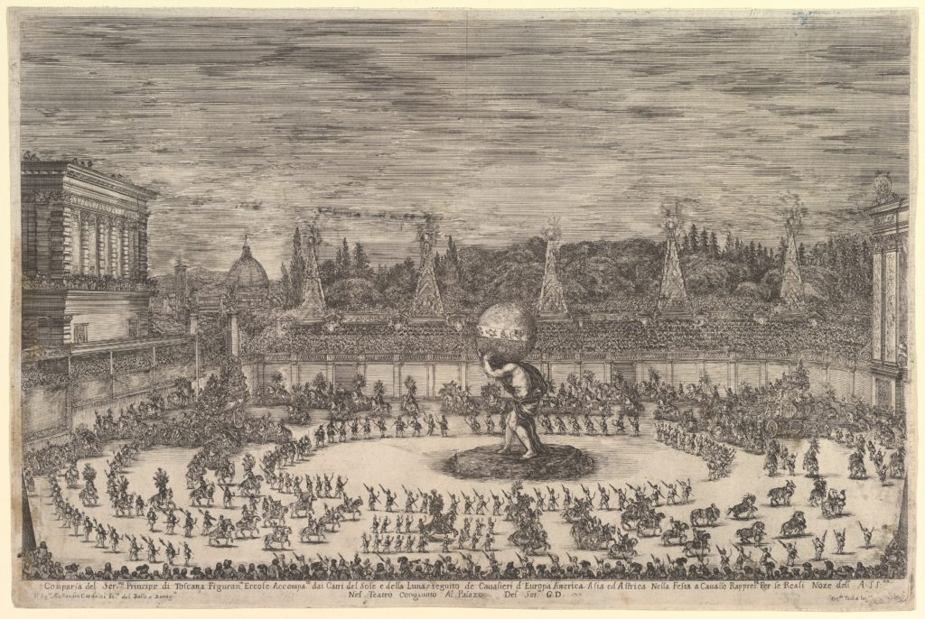 Entry of the prince of Tuscany as Hercules, in front of him a large procession of horsemen and footsoldiers, processing around the large statue of Atlas in center, the Duomo and the Pitti Palace to left in the background, spectators surrounding from all sides, from 'Il mondo festeggiante'