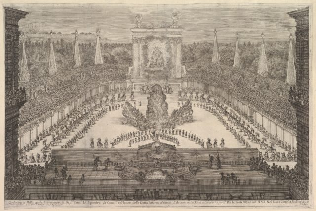 The Prince of Tuscany and his chariots arranged around Mount Atlas in center, a fountain at center in the foreground, a large arch displaying the Medici and the Orleans coats of arms in the background, spectators surrounding all sides, from 'Il mondo festeggiante'