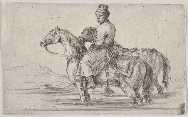 A valet taking two horses to bathe, sitting atop one horse in a river, the other beside him to right
