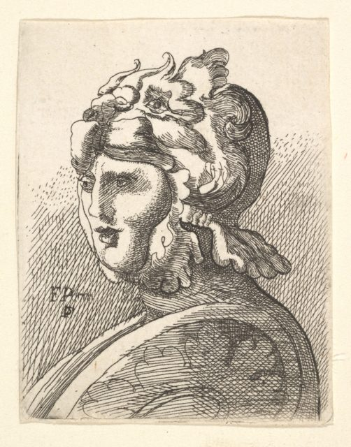Helmeted head, copy in reverse after Hollar