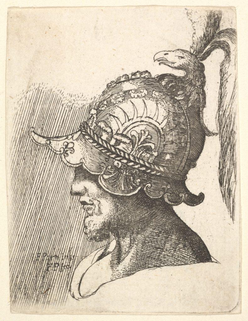 Helmeted head