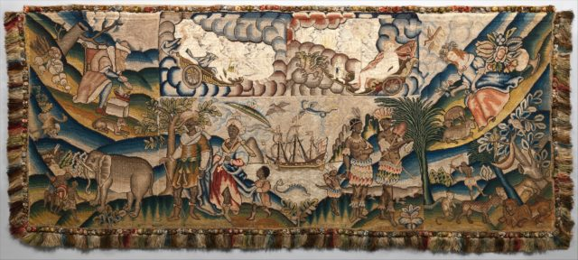Panel from a table carpet showing the Four Continents, the Seasons, and Four Planets