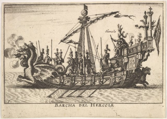 Plate 1: Ship of Hercules (Barcha del Hercole), with dragon-headed prow and Hercules on platform behind oarsmen and standing soldiers, from the series 'The magnificent pageant on the river Arno in Florence for the marriage of the Grand Duke' (Le Magnifique carousel fait sur le fleuve de l'Arne a Florence, pour le mariage du Grand Duc), for the wedding celebration of Cosimo de' Medici in Florence, 1608
