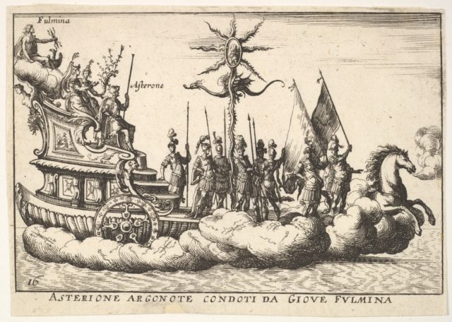 Plate 16: The Argonaut Asterion led by a young figure of lightning (Asterione argonote condoti da Giove fulmina), with two female figures seated between Asterion and the figure of lightning, and a horse enveloped in clouds at the ship's prow, from the series 'The magnificent pageant on the river Arno in Florence for the marriage of the Grand Duke' (Le Magnifique carousel fait sur le fleuve de l'Arne a Florence, pour le mariage du Grand Duc), for the wedding celebration of Cosimo de' Medici in Florence, 1608