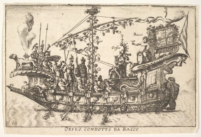 Plate 18: Orpheus led by Bacchus (Orfeo condotto da Bacco), from the series 'The magnificent pageant on the river Arno in Florence for the marriage of the Grand Duke' (Le Magnifique carousel fait sur le fleuve de l'Arne a Florence, pour le mariage du Grand Duc), for the wedding celebration of Cosimo de' Medici in Florence, 1608