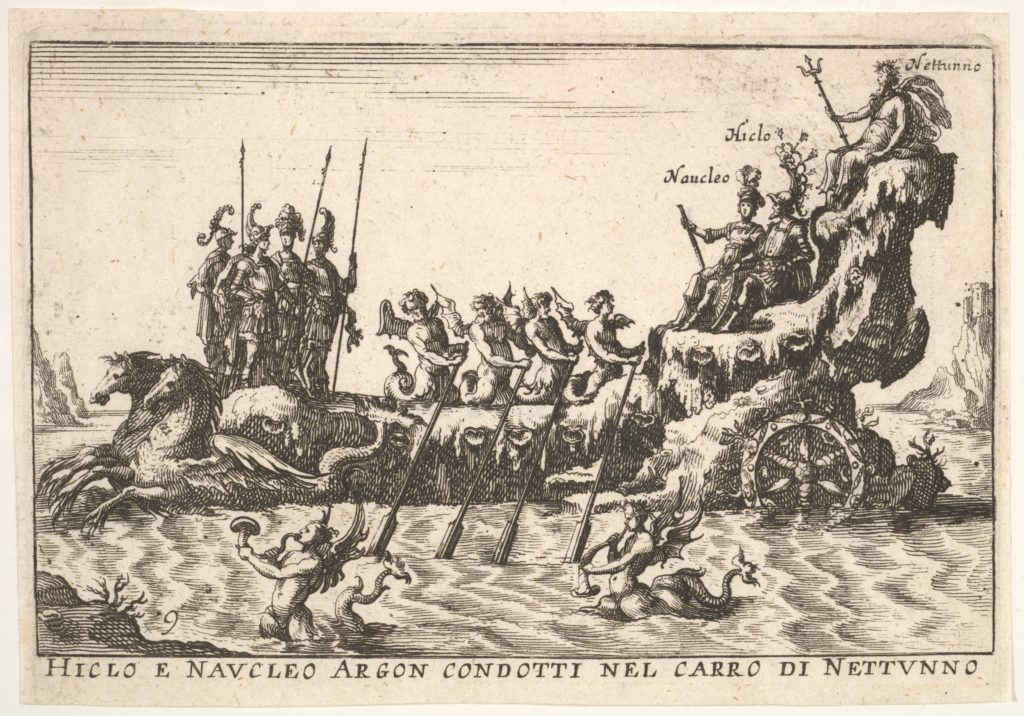 Plate 9: Argonauts Hicleus and Naucleus led in the float of Neptune (Hicleo e Naucleo Argon. condotti nel carro di Nattunno), with male sea creatures blowing horns from the water below, from the series 'The magnificent pageant on the river Arno in Florence for the marriage of the Grand Duke' (Le Magnifique carousel fait sur le fleuve de l'Arne a Florence, pour le mariage du Grand Duc), for the wedding celebration of Cosimo de' Medici in Florence, 1608
