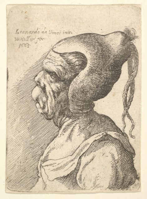 Bust of a deformed woman with conical hat and two dangling plaits in profile to left