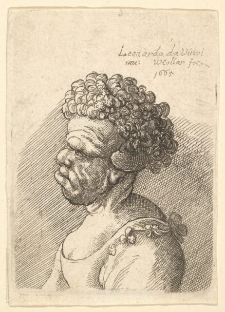 Bust of a deformed woman with curly hair in profile to the left