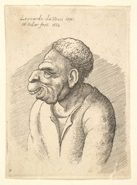 Bust of a manwith hooked nose, prominent upper lip, open mouth and thick, short curly hair resembling wig in profile to left