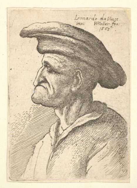 Bust of elderly man with nose that meets his lower  lip, wearing wide flat cap in profile to left