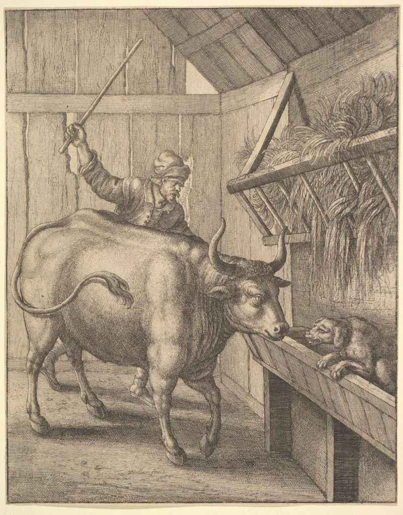 The dog in the manger from illustration to John Ogilby's 'Æsopic's: Or A Second Collection of Fables...
