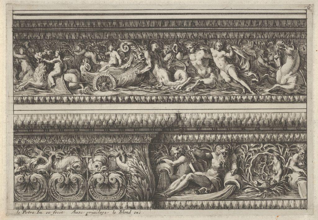 Two decorates Frieze Designs for Cornices, from: Frise pour les architraves, corniches et autres ornaments d'architecture