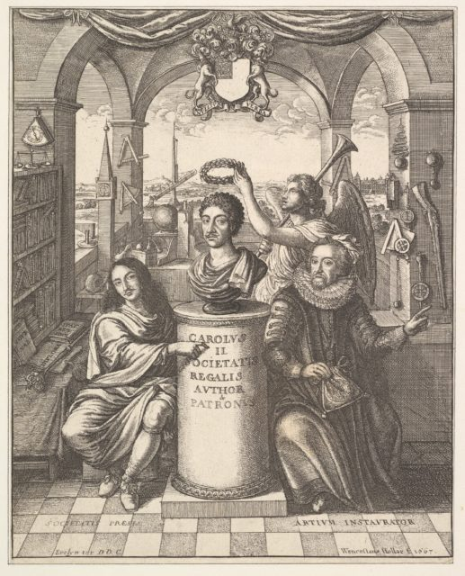 "The Royal Society, frontispiece to Thomas Sprat, ""The History of the Royal Society of London."""