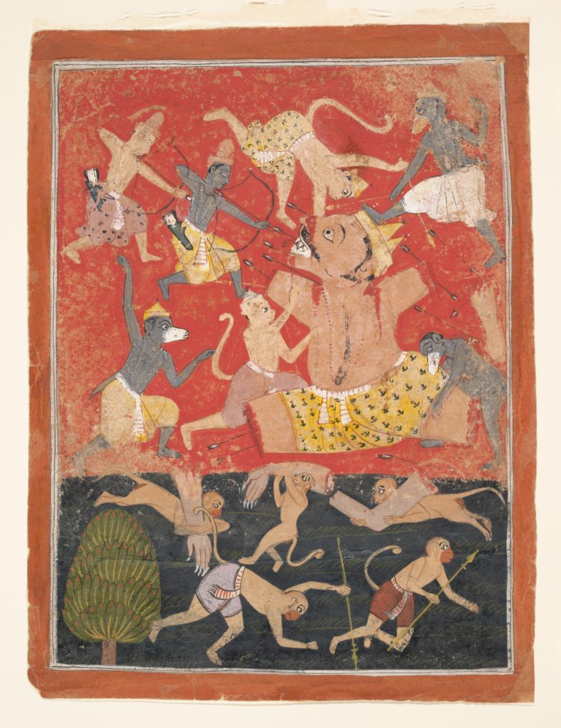 The Demon Kumbhakarna Is Defeated by Rama and Lakshmana