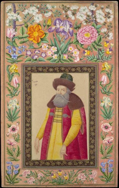 """Portrait of the Russian Ambassador, Prince Andrey Priklonskiy"", Folio from the Davis Album"