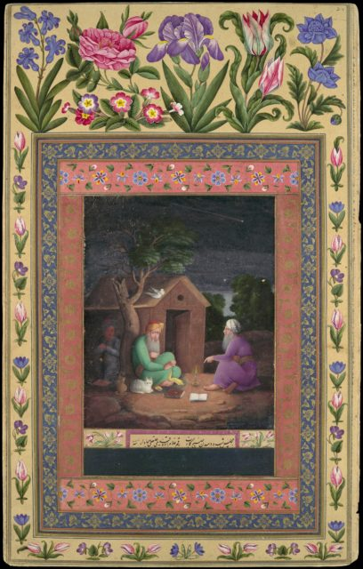 """""""Two Old Men in Discussion Outside a Hut"""", Folio from the Davis Album"""