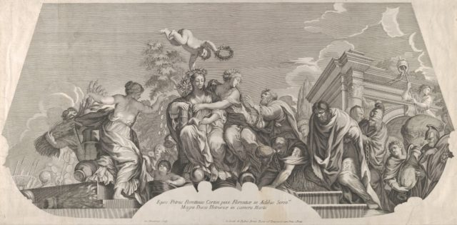 An allegorical composition with Charity and prisoners in chains; a plate from Rossi's series of engravings of Pietro da Cortona's fresco in the Camera of Mars in the Pitti Palace, Florence.