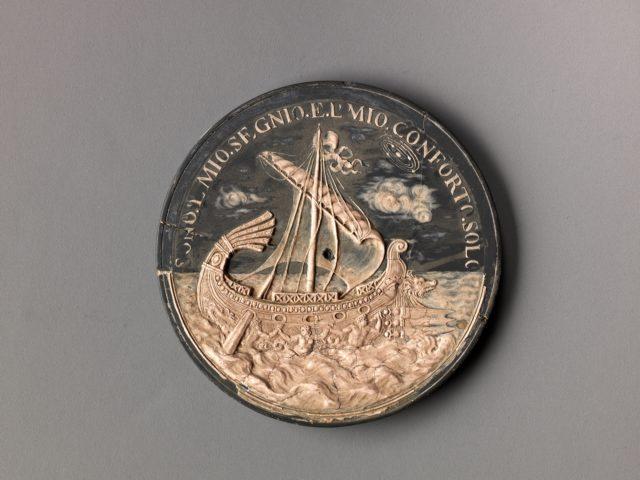 Model for a medal of Francesco Redi; a Ship at Sea