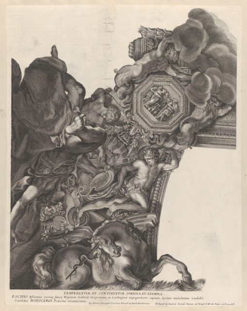 Plate 9: Allegory of Temperance with a unicorn and Publius Scipio Africanus at bottom, from Barberinae aulae fornix