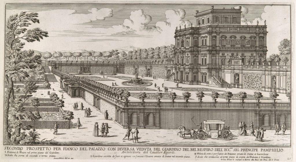 View of the side facade of the Palazzo Pamphili and its garden (Secondo prospetto per fianco del palazzo con diversa veduta del giardino del Bel respiro...Pamphilio)