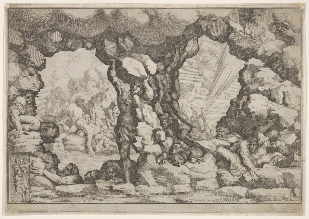 A giant heaving a boulder at center, other giants to left and right struggling and recoiling against impending boulders, nude figures climbing rocks and struggling in the background, from 'Giove che fulmina li giganti', after the frescoes on the ceiling of the Sala dei Giganti designed by Giulio Romano for the Palazzo del Te, Mantua