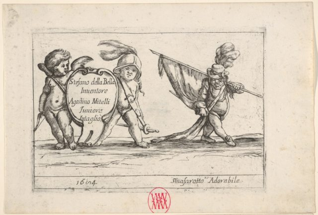 Callot figures; two children carrying a cartouche to left, a dwarf in a plumed hat carrying a standard at right, from 'Six grotesques' (Six pièces de figures grotesques)