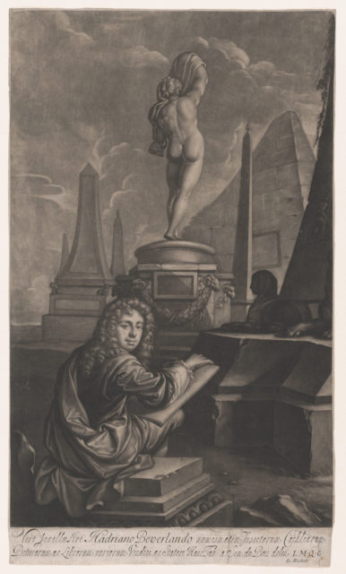 Portrait of Adrian Beverland Drawing a Statue of Callipygian Venus