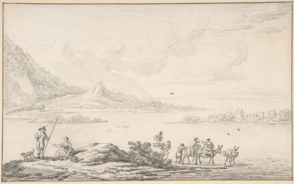 Landscape with mountains and a lake, figures in the foreground
