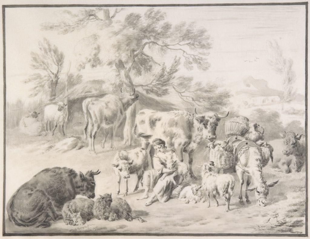 A Herdswoman Seated Amongst Her Animals, with a Lamb in Her Arms