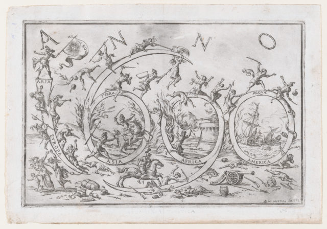 'Anno 1690' (the Year 1690), with numerous warring figures clambering on and hanging from the numbers, allusions to the Four Elements and the Four Continents