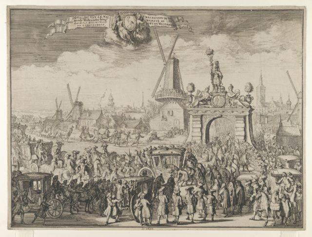 Entrance of William III into The Hague (Inhaling van S.K. Maj. aende Westeynder brug door de E.A. Magistraet van s'Gravenhage / Reception de sa Majesté au pont du Westende) from Bidloo, Inkomste van Koning Willem III
