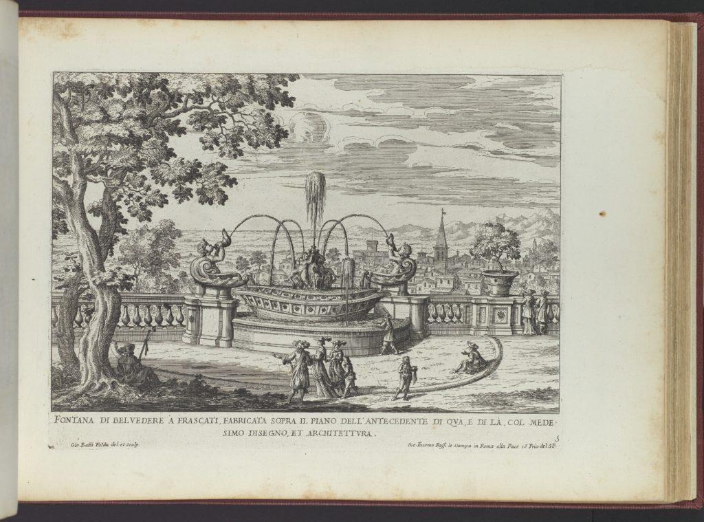 Fontana di Belvedere á Frascati (...), from 'La Fontane di Roma nelle Piazze e Luoghi Publici (...)', part 2, 'Le fontane delle ville di Frascati' (plate 5)