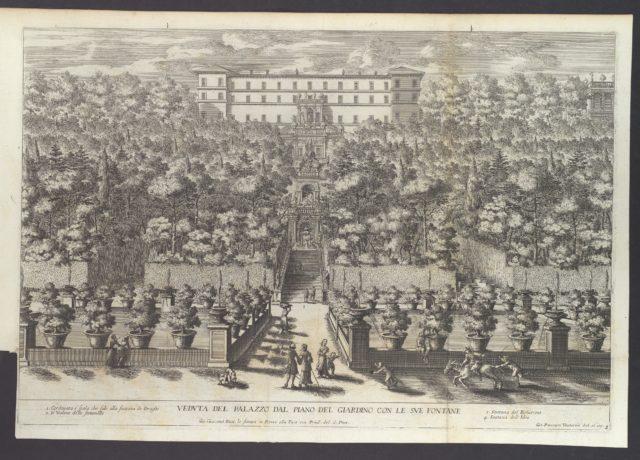 Veduta del Palazzo dal Piano del Giardino con le sue Fontane, from 'La Fontane di Roma nelle Piazze e Luoghi Publici (...)', part 4, 'Le Fontane del Giardino Estense in Tivoli' (plate 3)