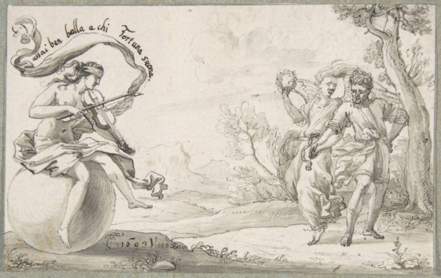 A Dancing Pair Accompanied by a Blindfolded Fortune