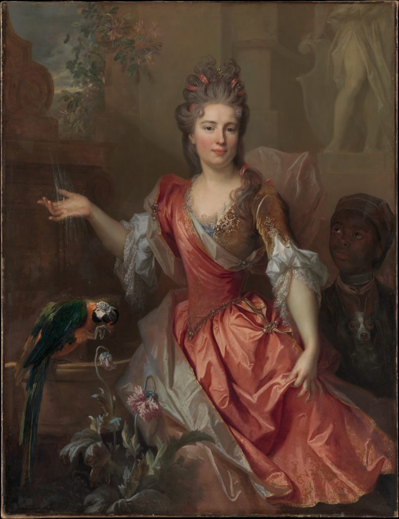 Portrait of a Woman, Possibly Madame Claude Lambert de Thorigny (Marie Marguerite Bontemps, 1668–1701), and an Enslaved Servant