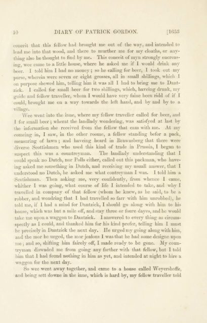 10 DIARY OF PATRICK GORDON. [1653   conceit that this fellow had brought me out of the way, and intended to