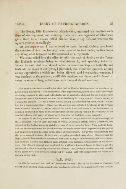 1661-2] DIARY OF PATRICK GORDON. 63   The Boyar, Ella Danielovitz Miloslawsky, mustered six hundred souldiers