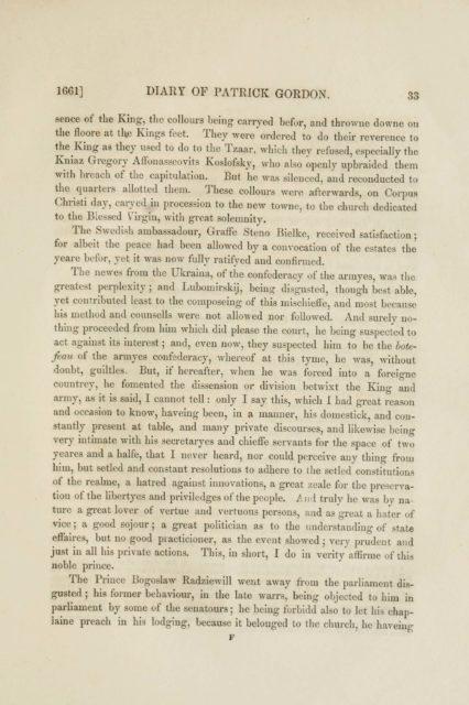 1661] DIARY OF PATRICK GORDON.     33     sence of the King