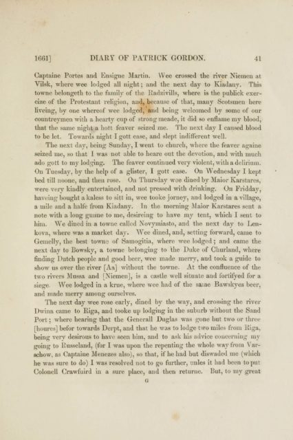 1661] DIARY OF PATRICK GORDON. 41   Captaine Fortes and Ensigne Martin