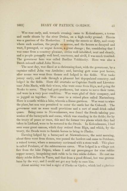 1661] DIARY OF PATRICK GORDON. 43   Wee rose early, and, towards eveniug, came to Kokenliausen