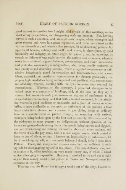 1661] DIARY OF PATRICK GORDON. 47   good earnest to consider how I might ridd myself of this countrey
