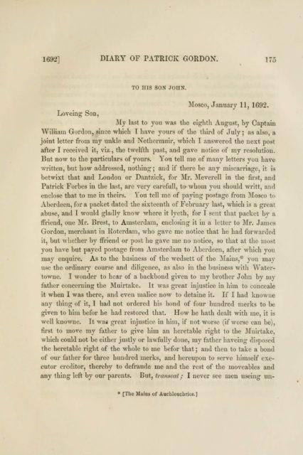 1692] DIARY OF PATRICK GORDON. 175   TO HIS SON JOHN.   Mosco, January 11, 1692.