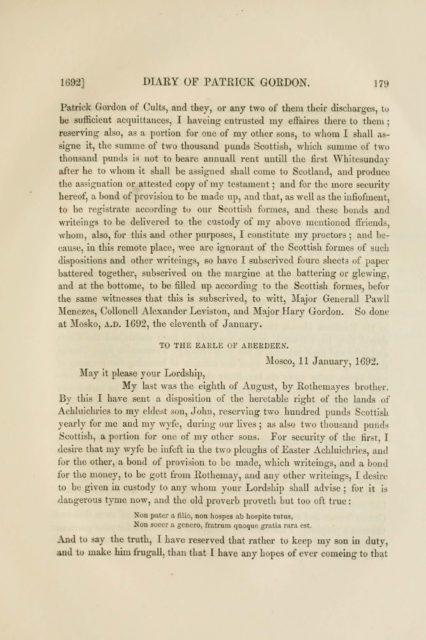 1692] DIARY OF PATRICK GORDON. 179   Patrick Gordon of Cults